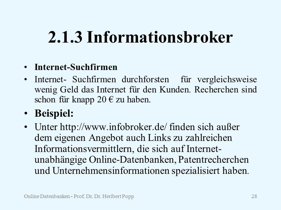 2.1.3 Informationsbroker Beispiel: