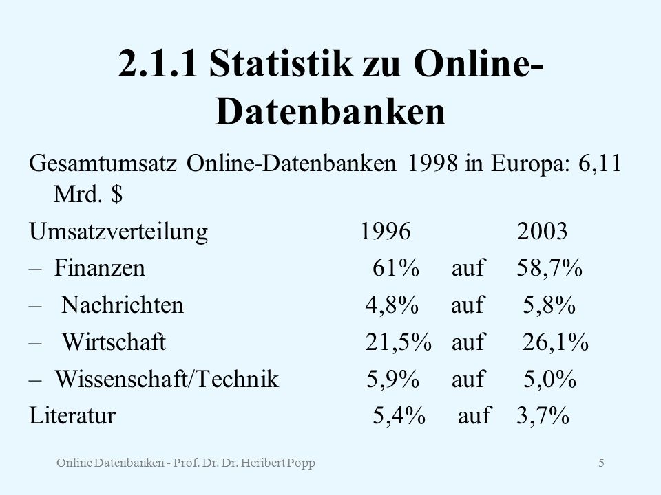 2.1.1 Statistik zu Online-Datenbanken