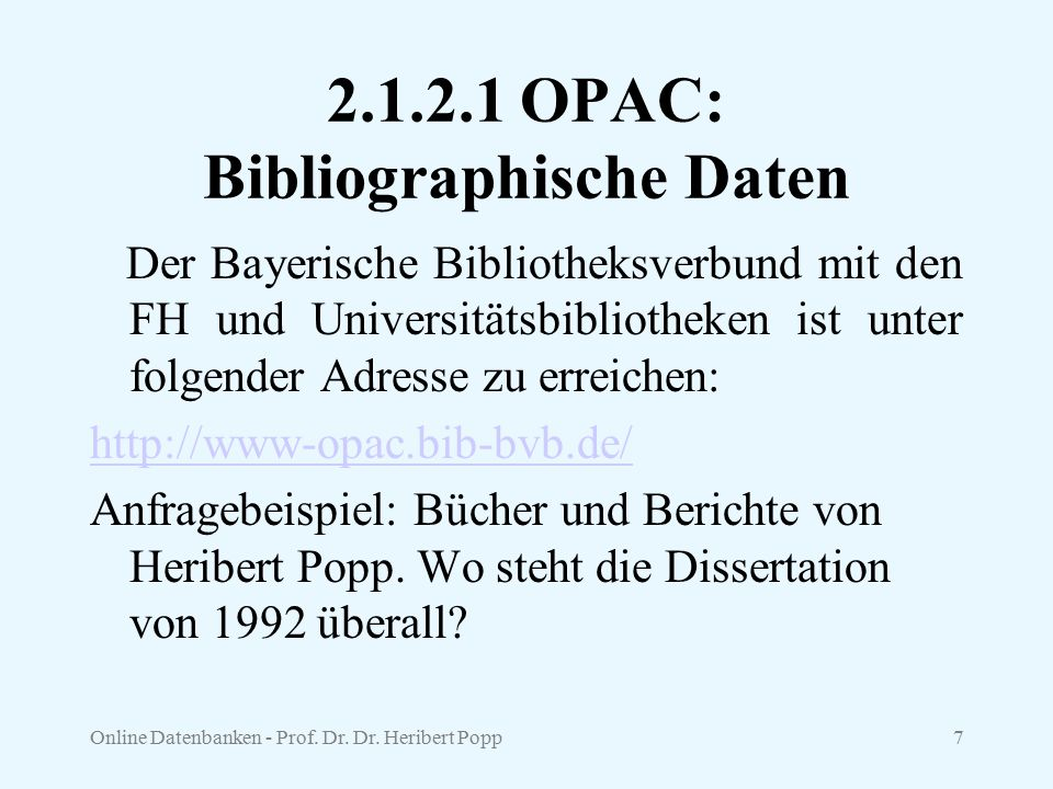 2.1.2.1 OPAC: Bibliographische Daten