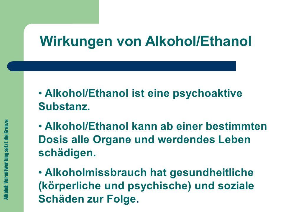 Wirkungen von Alkohol/Ethanol