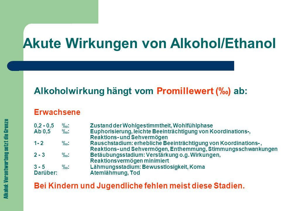 Akute Wirkungen von Alkohol/Ethanol