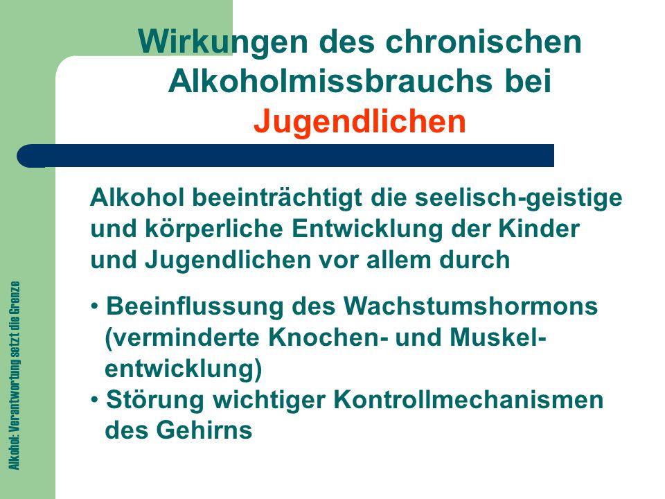 Wirkungen des chronischen Alkoholmissbrauchs bei Jugendlichen