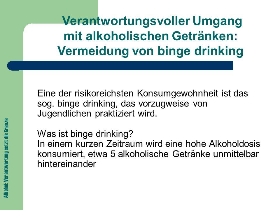 Verantwortungsvoller Umgang mit alkoholischen Getränken: Vermeidung von binge drinking