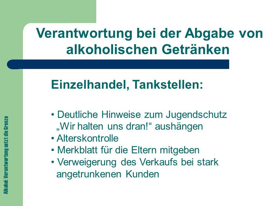 Verantwortung bei der Abgabe von alkoholischen Getränken