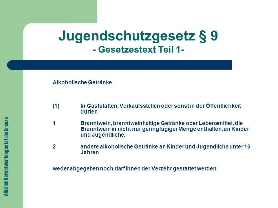 Jugendschutzgesetz § 9 - Gesetzestext Teil 1-