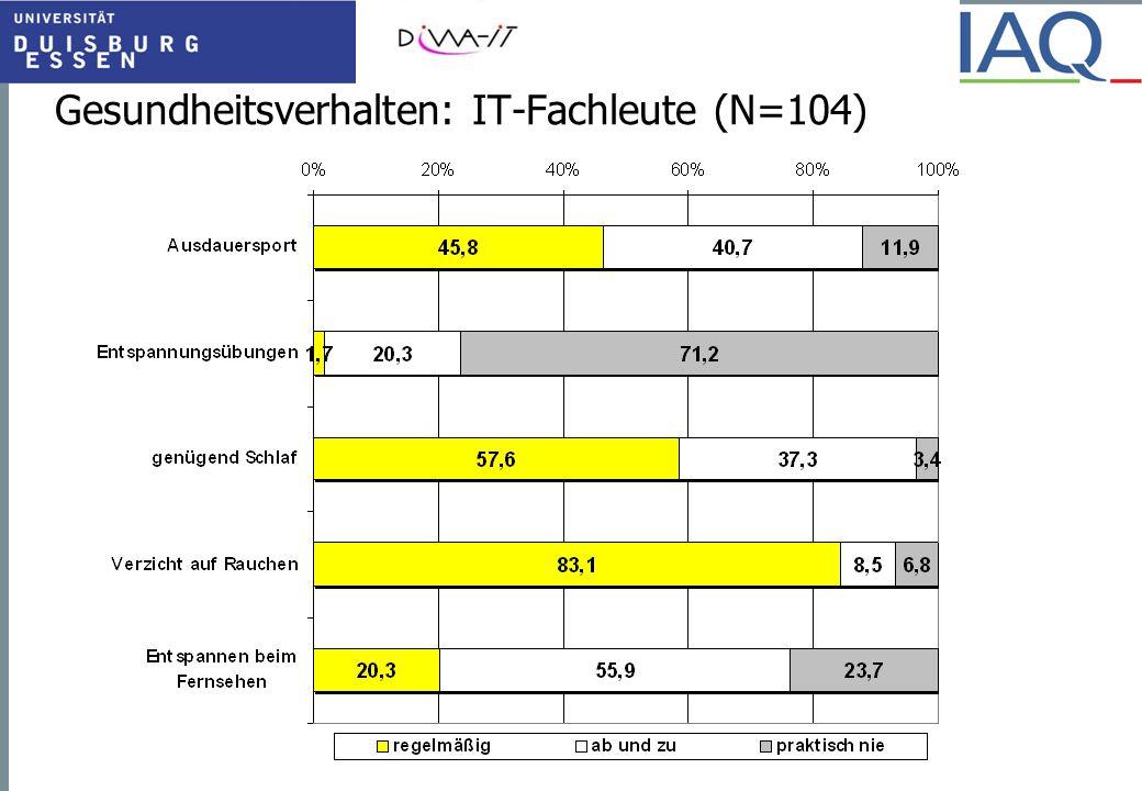 Gesundheitsverhalten: IT-Fachleute (N=104)