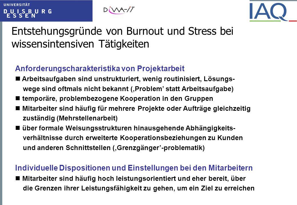 Entstehungsgründe von Burnout und Stress bei wissensintensiven Tätigkeiten