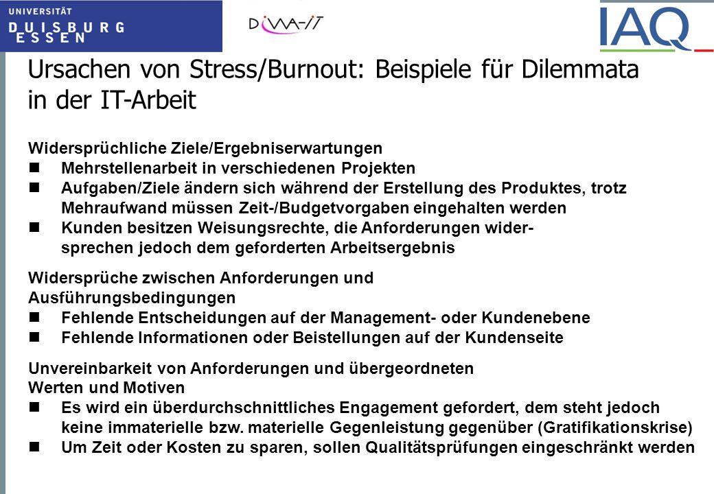 Ursachen von Stress/Burnout: Beispiele für Dilemmata in der IT-Arbeit
