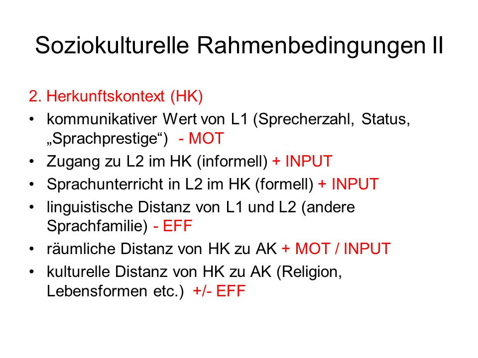 Soziokulturelle Rahmenbedingungen II