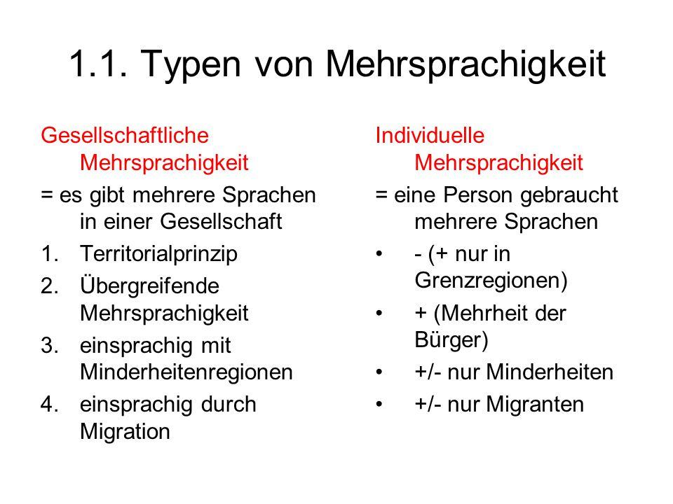 1.1. Typen von Mehrsprachigkeit
