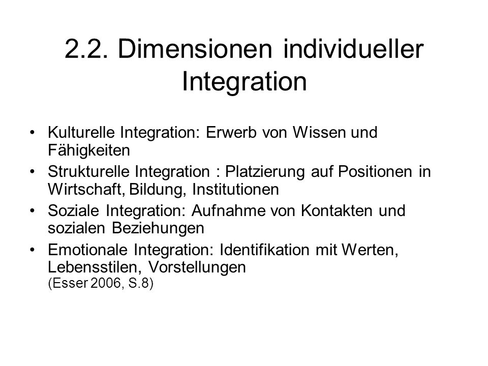 2.2. Dimensionen individueller Integration
