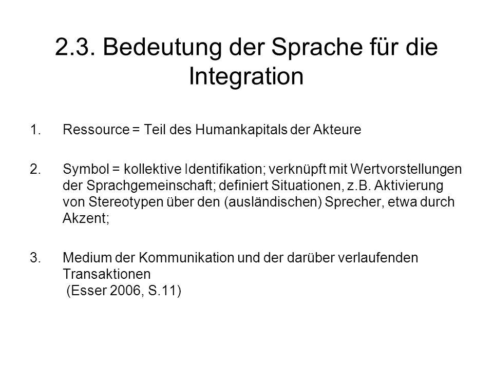 2.3. Bedeutung der Sprache für die Integration