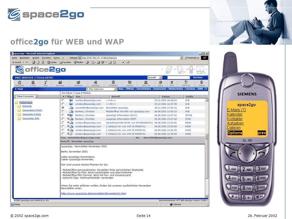 office2go für WEB und WAP