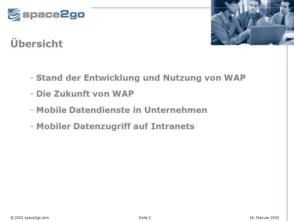 Übersicht Stand der Entwicklung und Nutzung von WAP