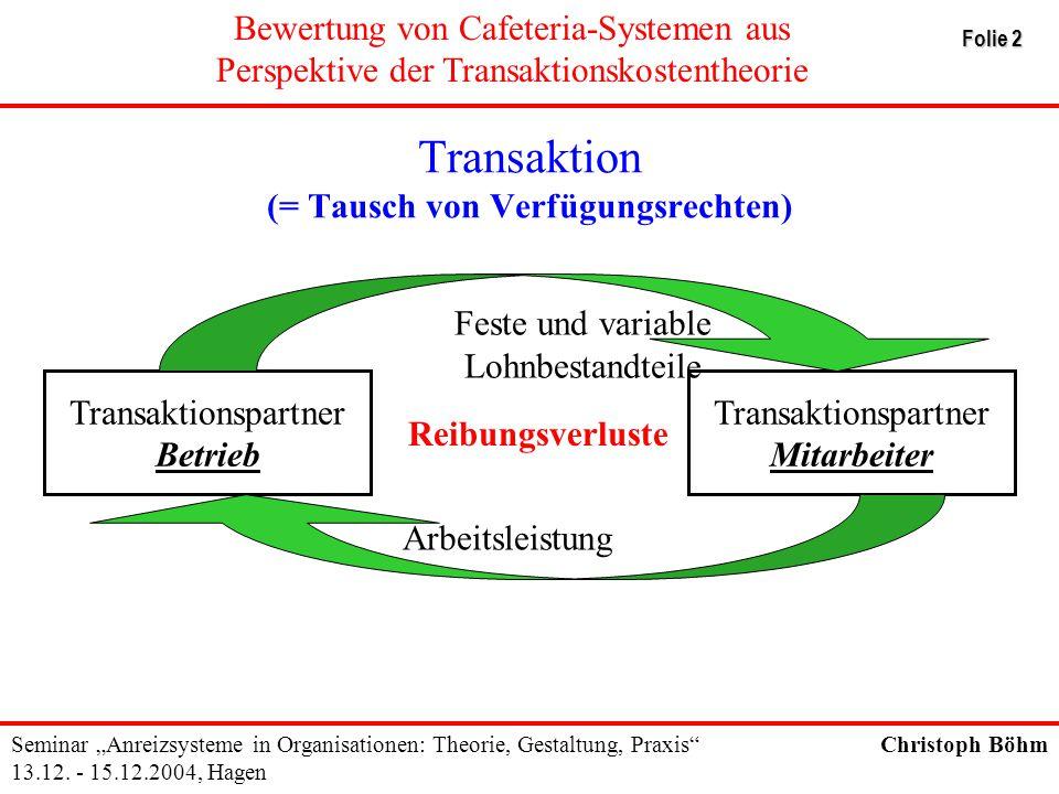 Transaktion (= Tausch von Verfügungsrechten)