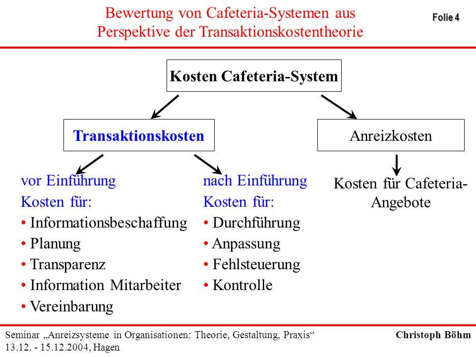 Kosten Cafeteria-System