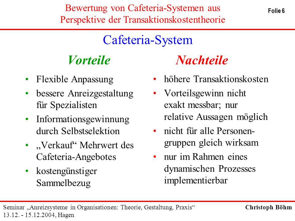 Cafeteria-System Vorteile Nachteile