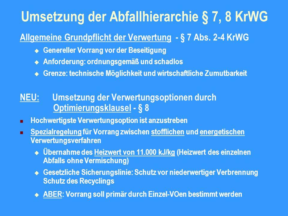 Umsetzung der Abfallhierarchie § 7, 8 KrWG