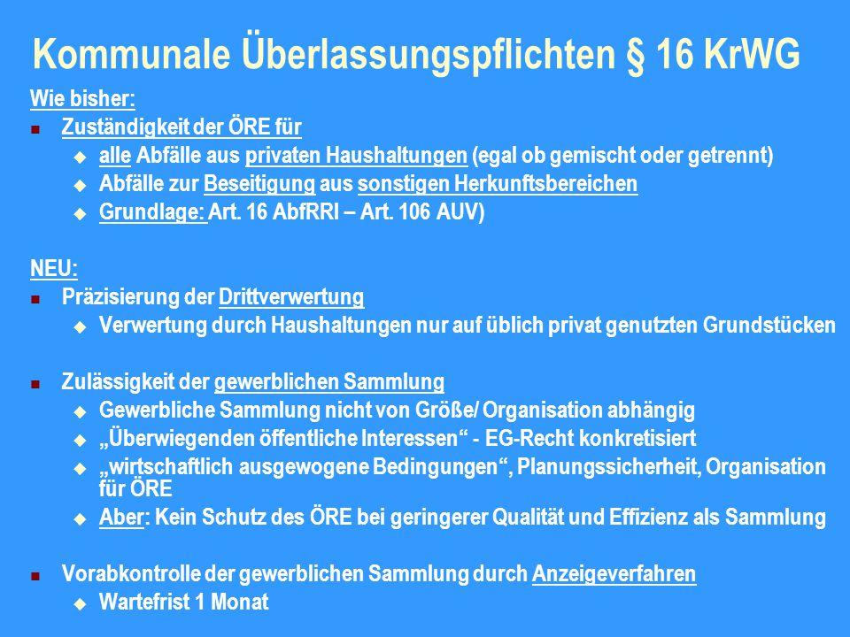 Kommunale Überlassungspflichten § 16 KrWG