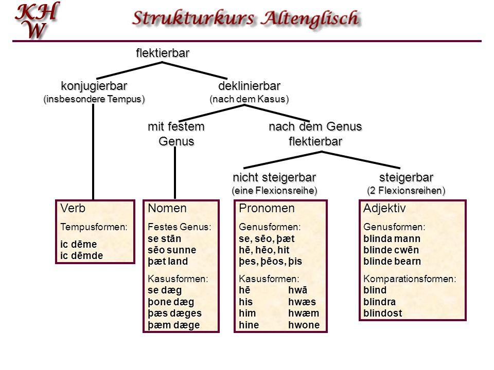 konjugierbar (insbesondere Tempus) deklinierbar (nach dem Kasus)