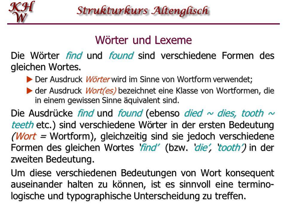 Wörter und Lexeme Die Wörter find und found sind verschiedene Formen des gleichen Wortes. Der Ausdruck Wörter wird im Sinne von Wortform verwendet;