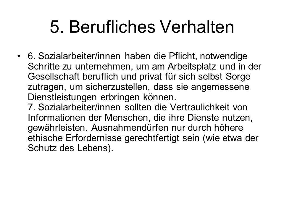 5. Berufliches Verhalten