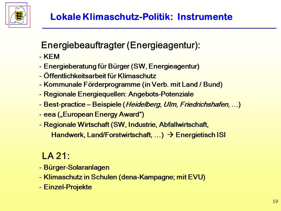 Lokale Klimaschutz-Politik: Instrumente