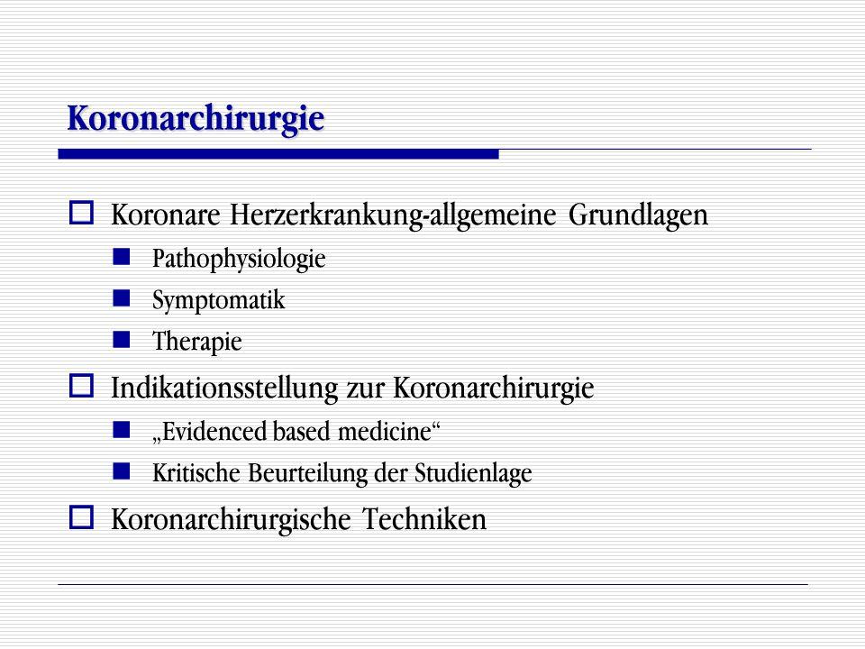 Koronarchirurgie Koronare Herzerkrankung-allgemeine Grundlagen