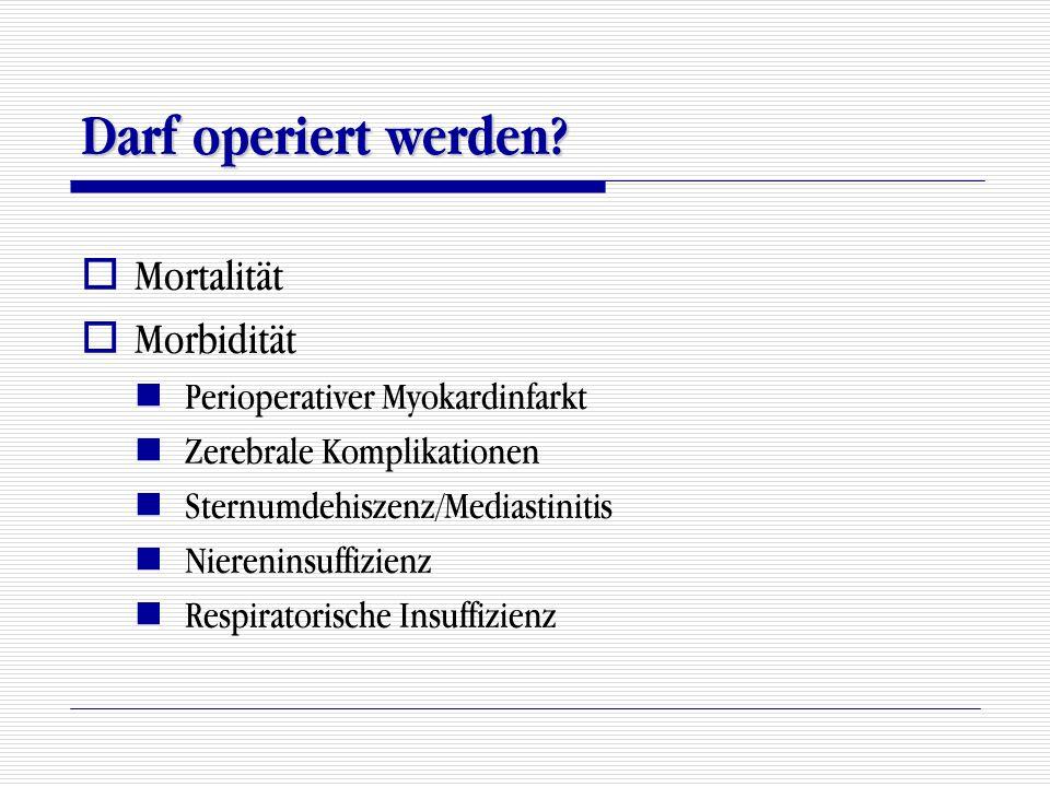 Darf operiert werden Mortalität Morbidität