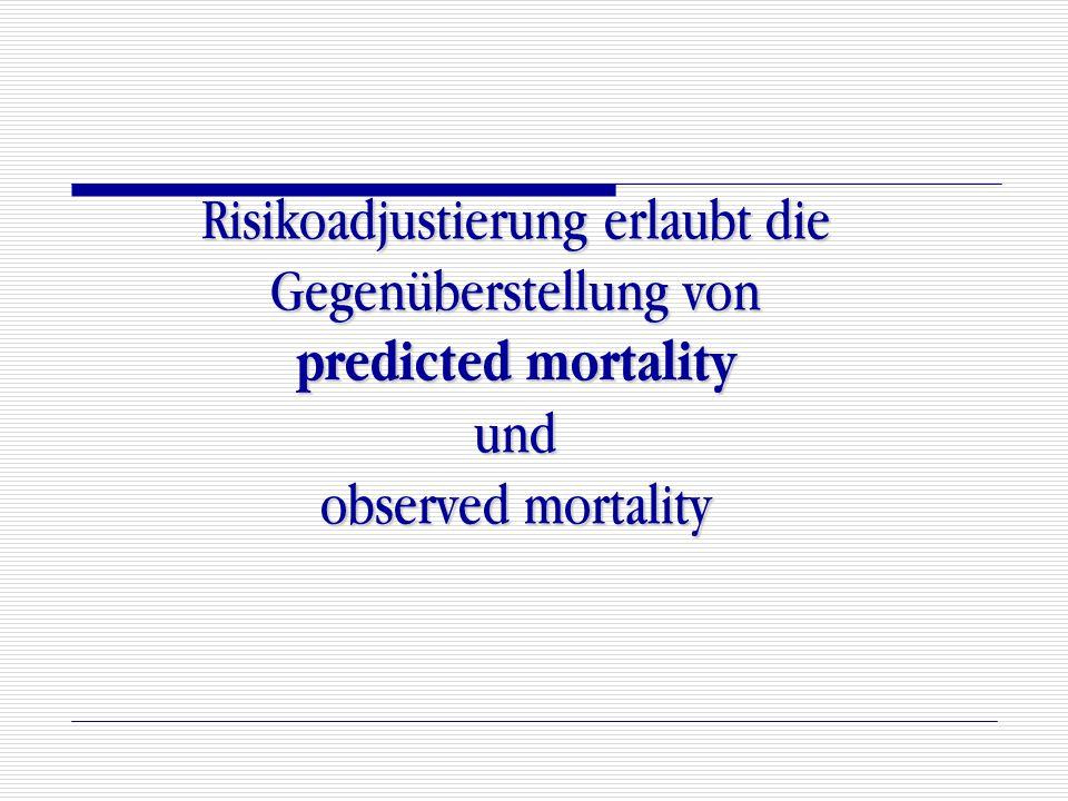 Risikoadjustierung erlaubt die Gegenüberstellung von predicted mortality und observed mortality