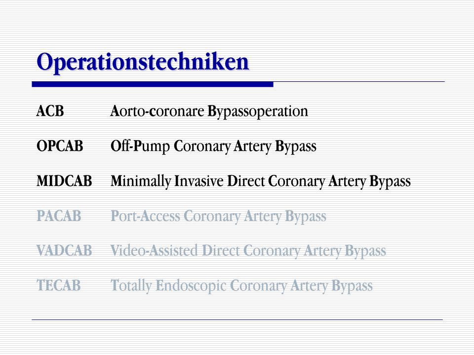 Operationstechniken ACB Aorto-coronare Bypassoperation