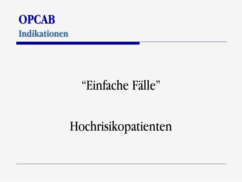 OPCAB Indikationen Einfache Fälle Hochrisikopatienten