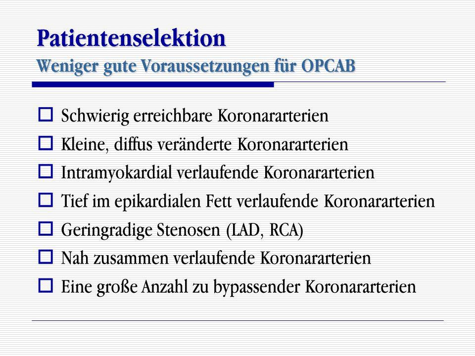 Patientenselektion Weniger gute Voraussetzungen für OPCAB