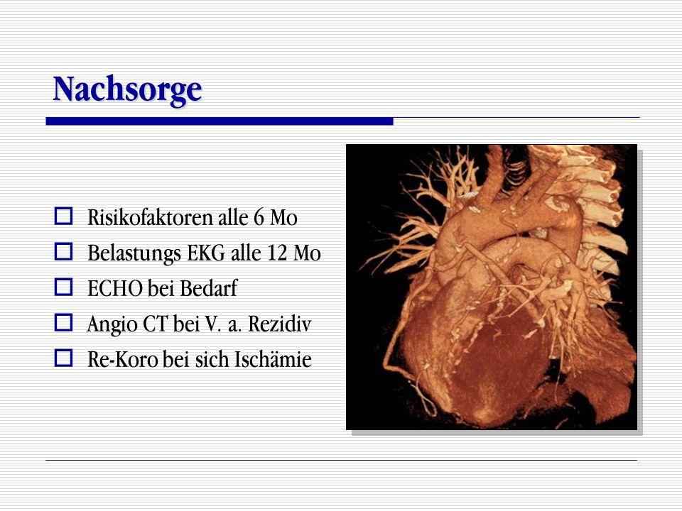 Nachsorge Risikofaktoren alle 6 Mo Belastungs EKG alle 12 Mo