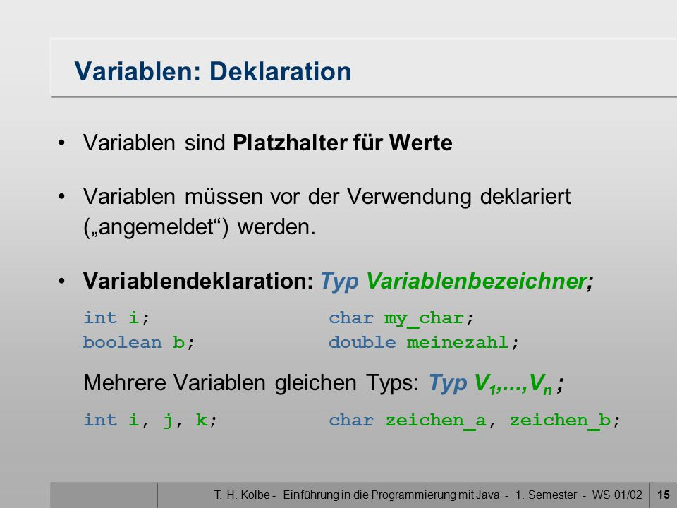 Variablen: Deklaration