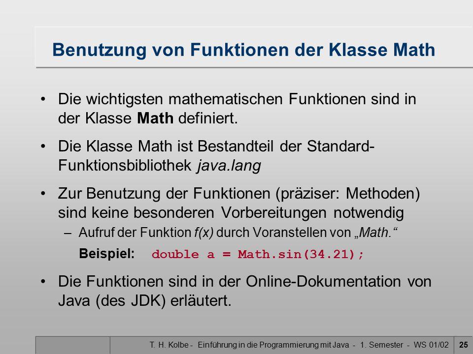 Benutzung von Funktionen der Klasse Math