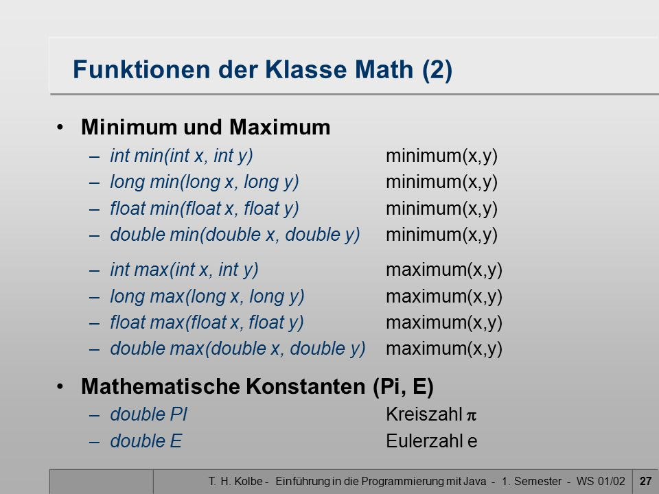 Funktionen der Klasse Math (2)