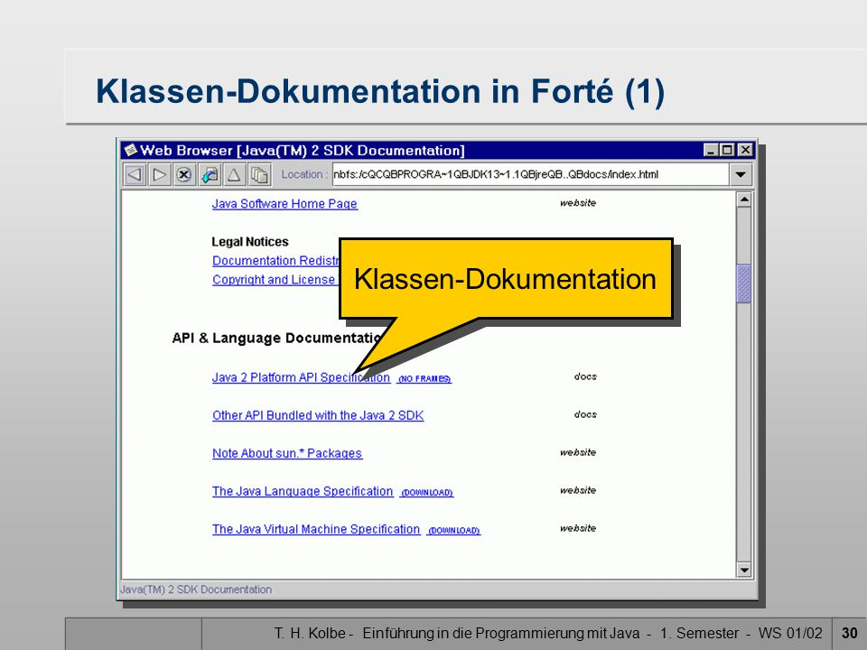 Klassen-Dokumentation in Forté (1)