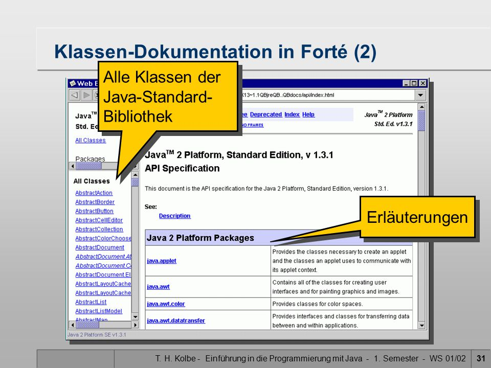 Klassen-Dokumentation in Forté (2)