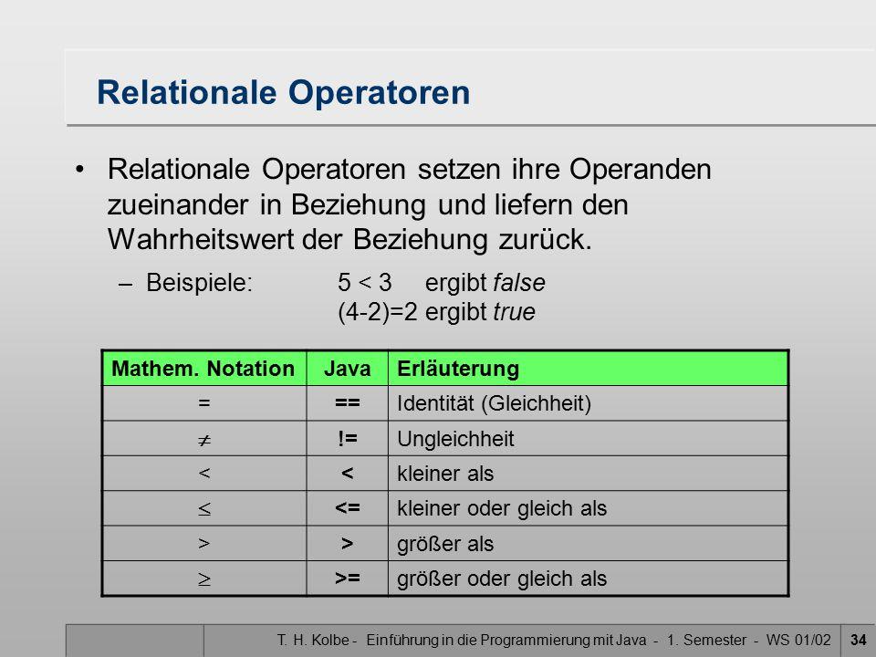 Relationale Operatoren