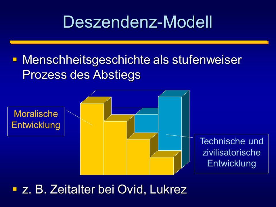 Deszendenz-Modell Menschheitsgeschichte als stufenweiser Prozess des Abstiegs. z. B. Zeitalter bei Ovid, Lukrez.
