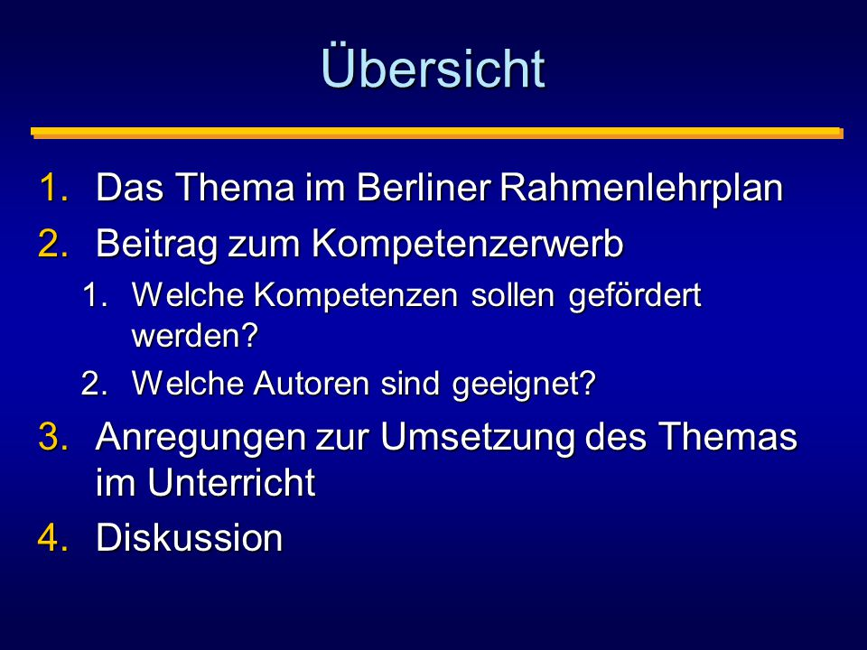 Übersicht Das Thema im Berliner Rahmenlehrplan