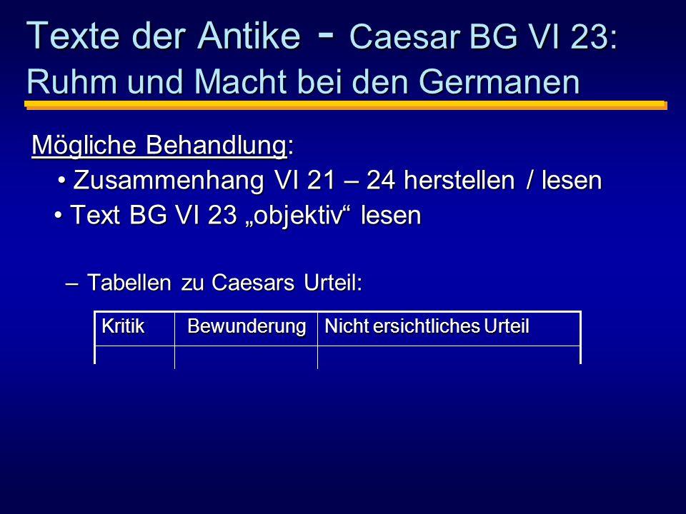 Texte der Antike - Caesar BG VI 23: Ruhm und Macht bei den Germanen