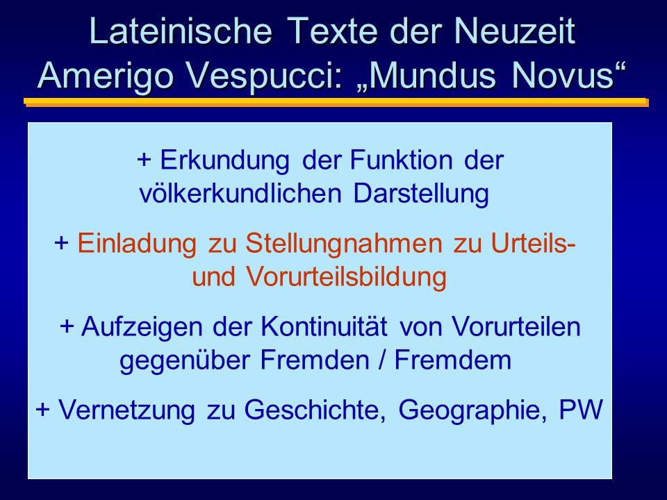 """Lateinische Texte der Neuzeit Amerigo Vespucci: """"Mundus Novus"""