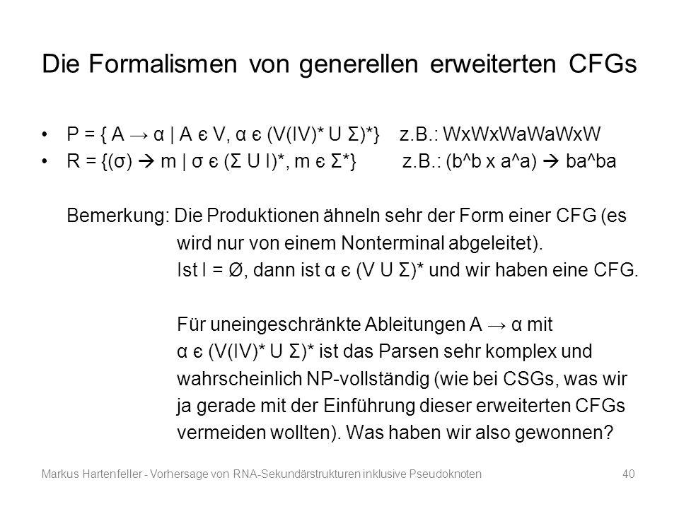 Die Formalismen von generellen erweiterten CFGs