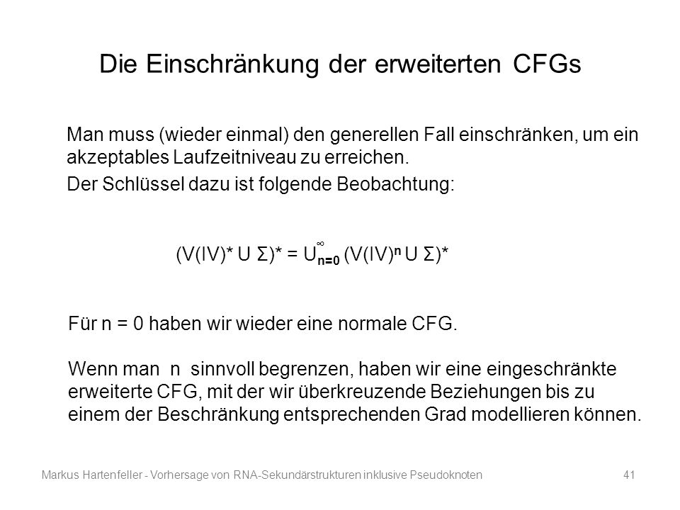 Die Einschränkung der erweiterten CFGs