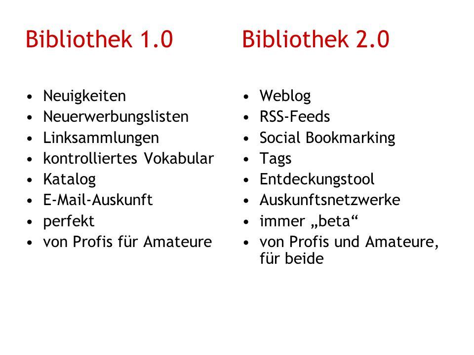 Bibliothek 1.0 Bibliothek 2.0 Neuigkeiten Neuerwerbungslisten