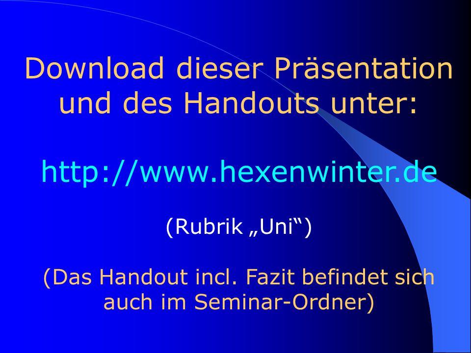 Download dieser Präsentation und des Handouts unter: