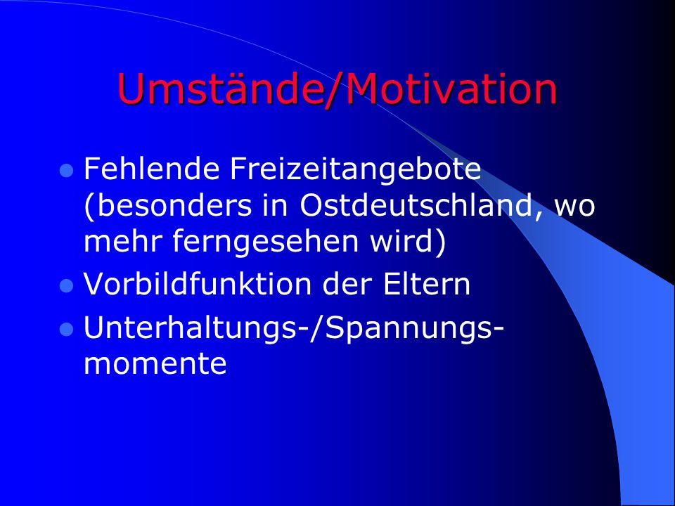 Umstände/Motivation Fehlende Freizeitangebote (besonders in Ostdeutschland, wo mehr ferngesehen wird)