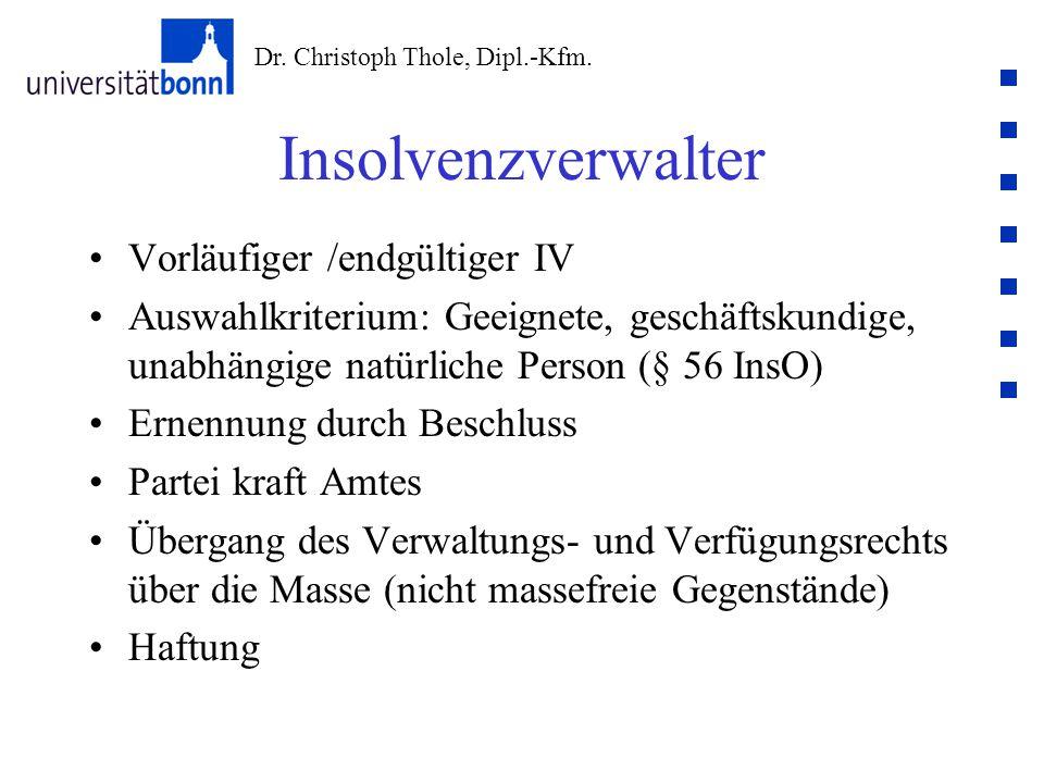 Insolvenzverwalter Vorläufiger /endgültiger IV